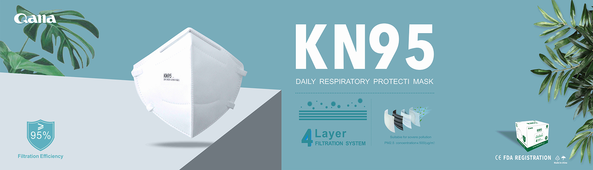 KN95 earloop 4 Ply Disposable face mask without valve respirator